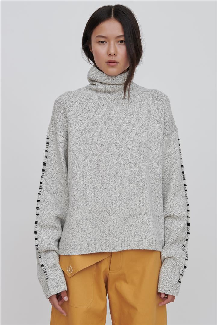 White Wool Blend Turtleneck Sweater - Corenna