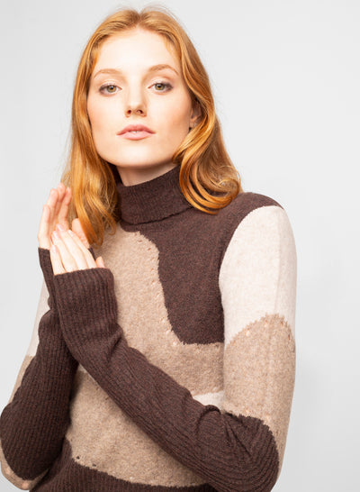 Brown Wool Blend Turtleneck Sweater - Cellie