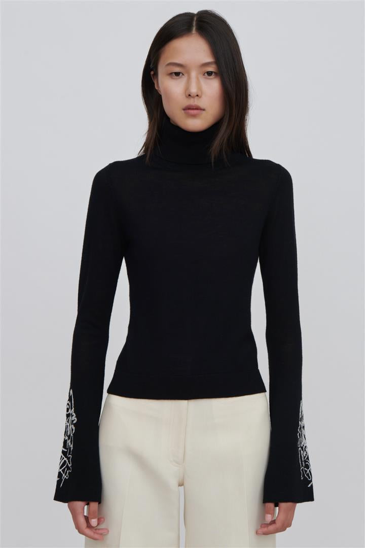 Daphne Black Fine Merino Wool Sweater