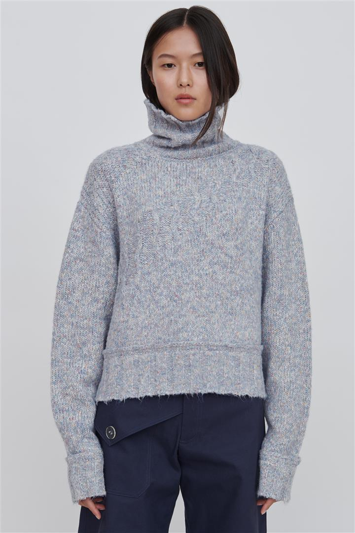 Blue Cotton Blend Sweater - Devon