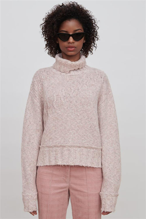 Pink Cotton Blend Sweater - Devon