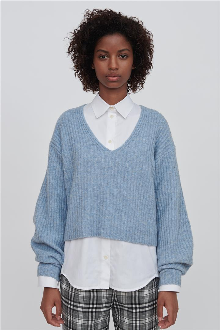 Blue Wool Blend V Neck Sweater - Ella