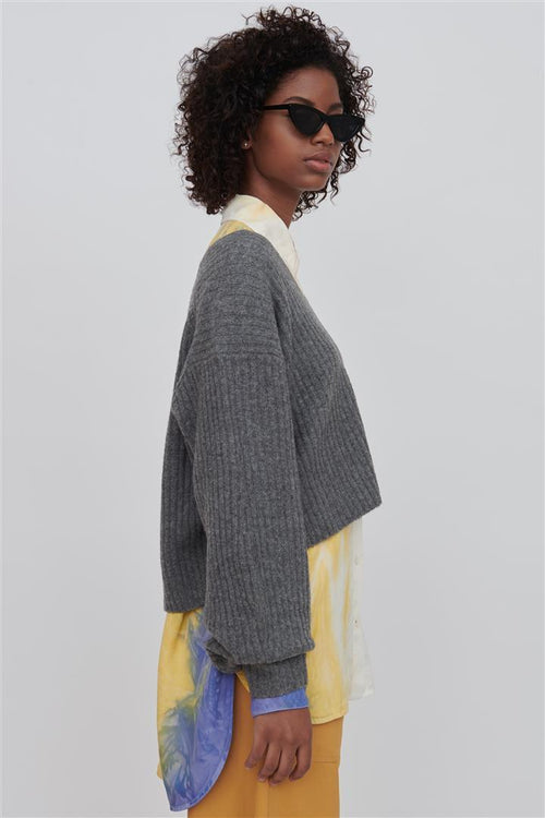 Ella V Neck Wool Sweater Grey