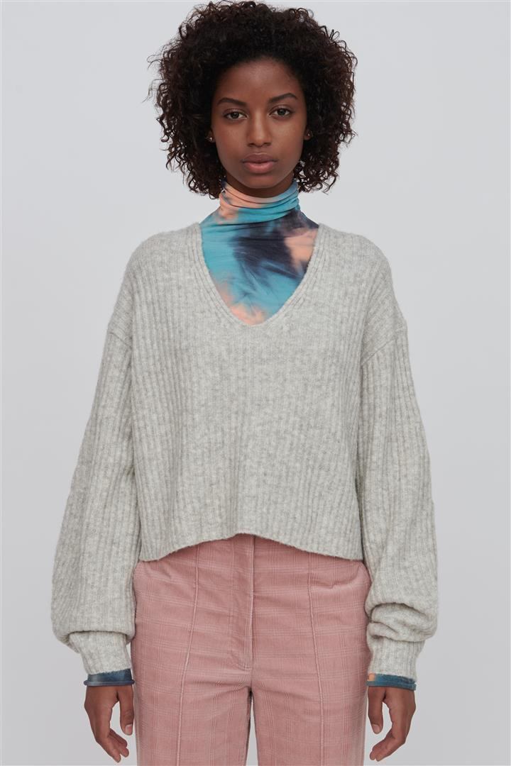 White Wool Blend V Neck Sweater - Ella