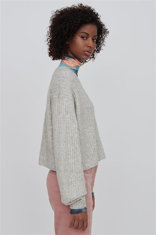 Ella V Neck Wool Sweater White