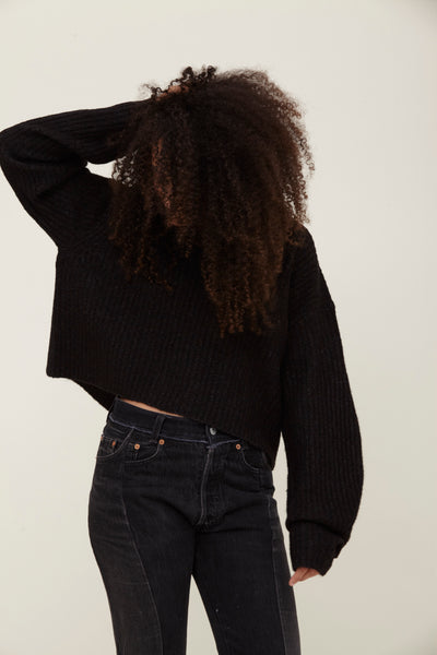 Black Wool Blend V Neck Sweater - Ella