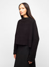 Black Wool Blend Mock Neck Sweater - Emily