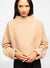 Beige Wool Blend Mock Neck Sweater - Emily