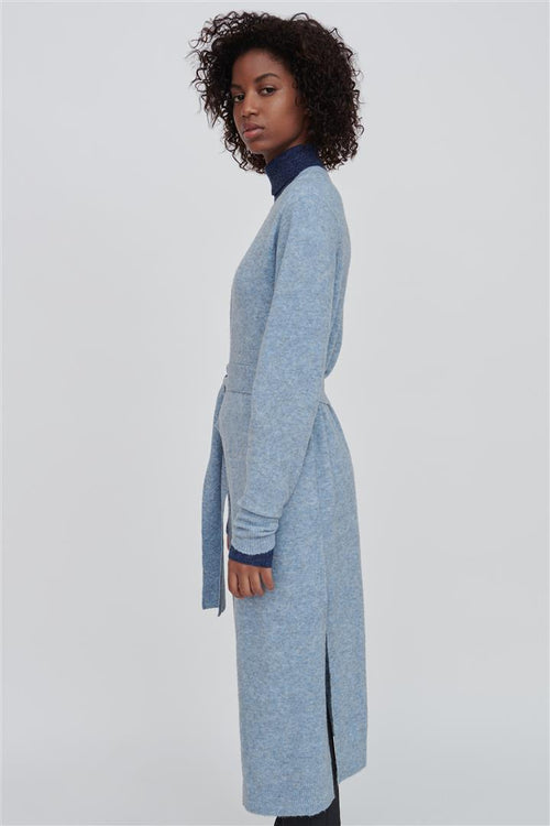 Faith Blue Wool Blend Long Cardigan