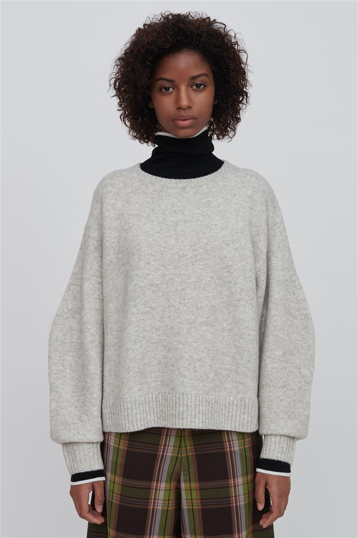 White Wool Blend Crew Neck Sweater - Faye