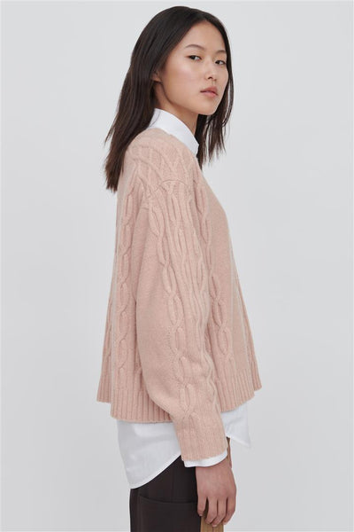Pink Wool Crew Neck Sweater - Fifi