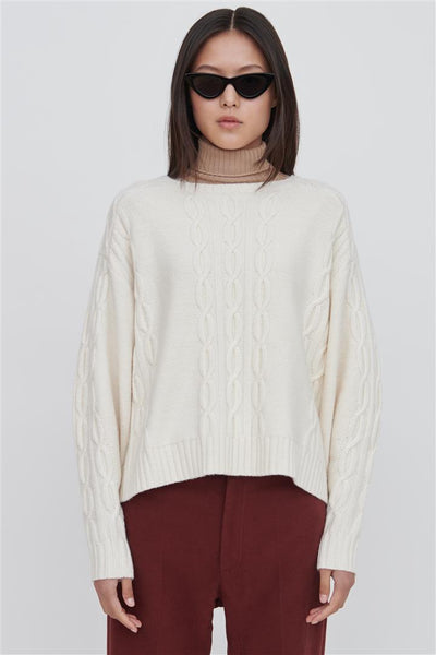 White Wool Crew Neck Sweater - Fifi