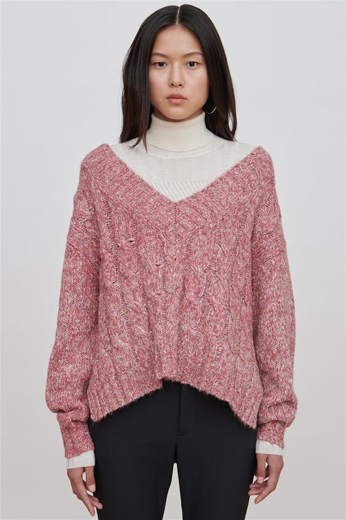 Georgia Cotton Blend Sweater Pink/red