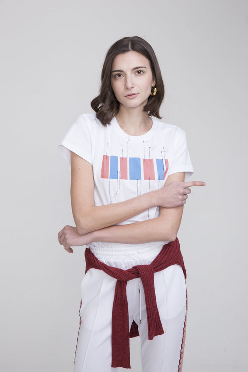 Hachi Cotton T Shirt White With Hong Kong Embroidery