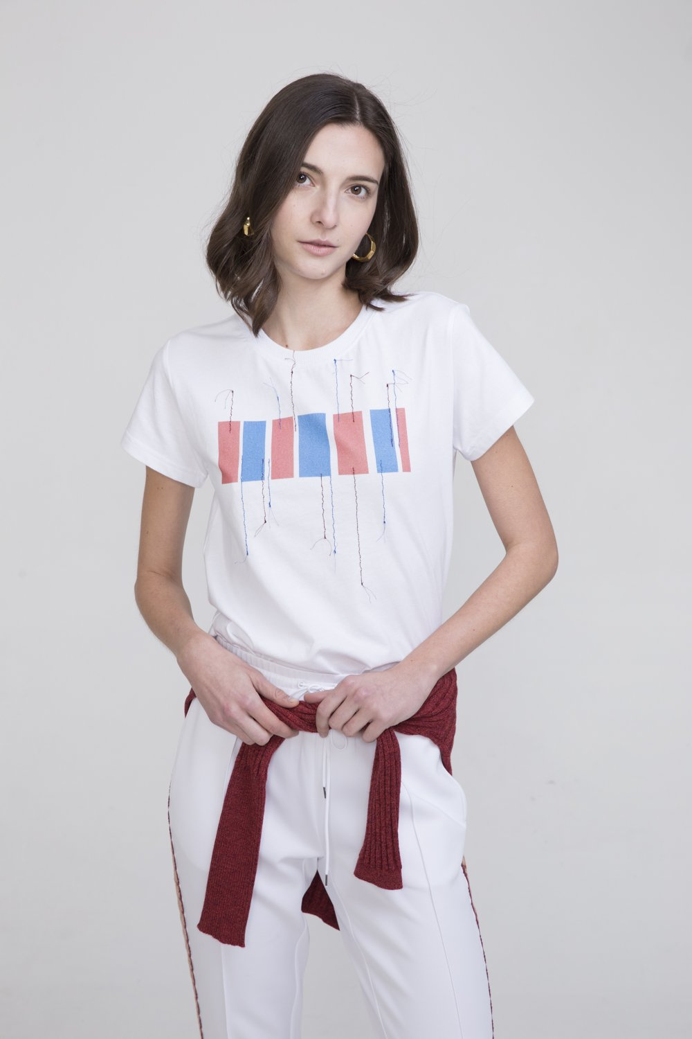 Hachi White Cotton T Shirt With Hong Kong Embroidery