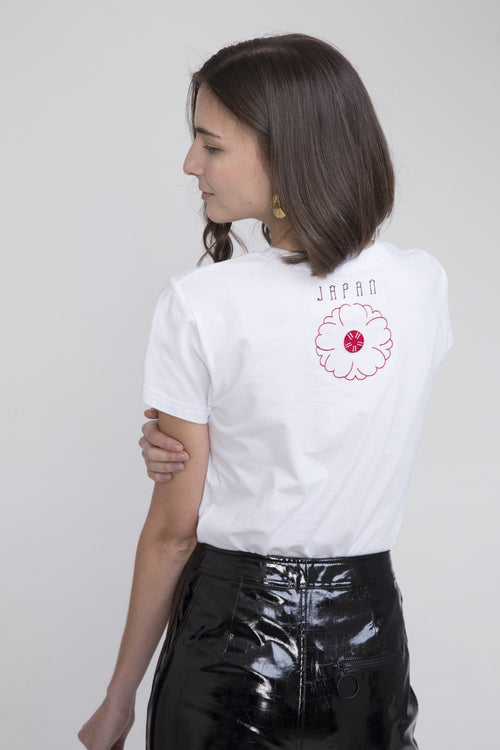 Hachi Cotton T Shirt White With Japan Embroidery