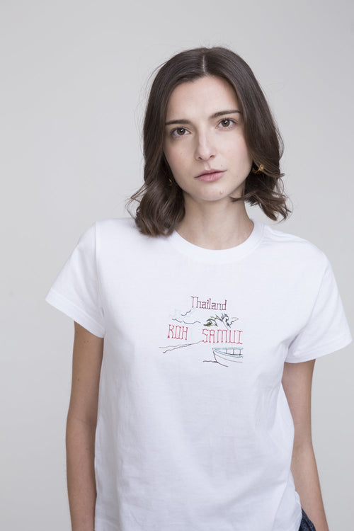 Hachi Cotton T Shirt White With Thailand Embroidery