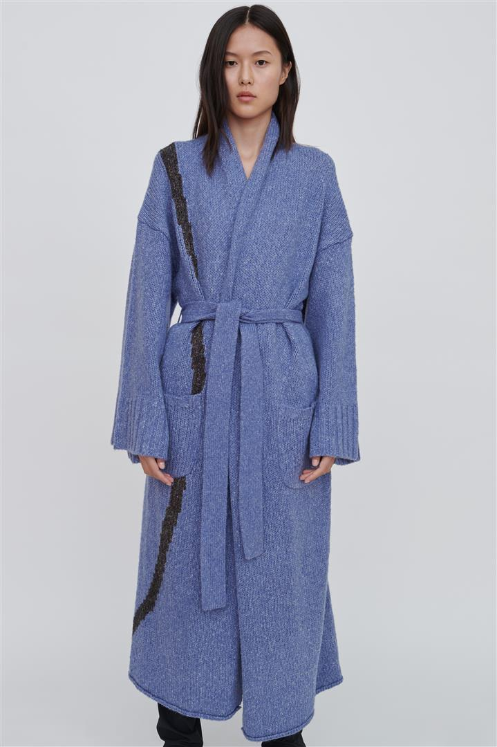 Imaan Blue Wool Blend Long Cardigan
