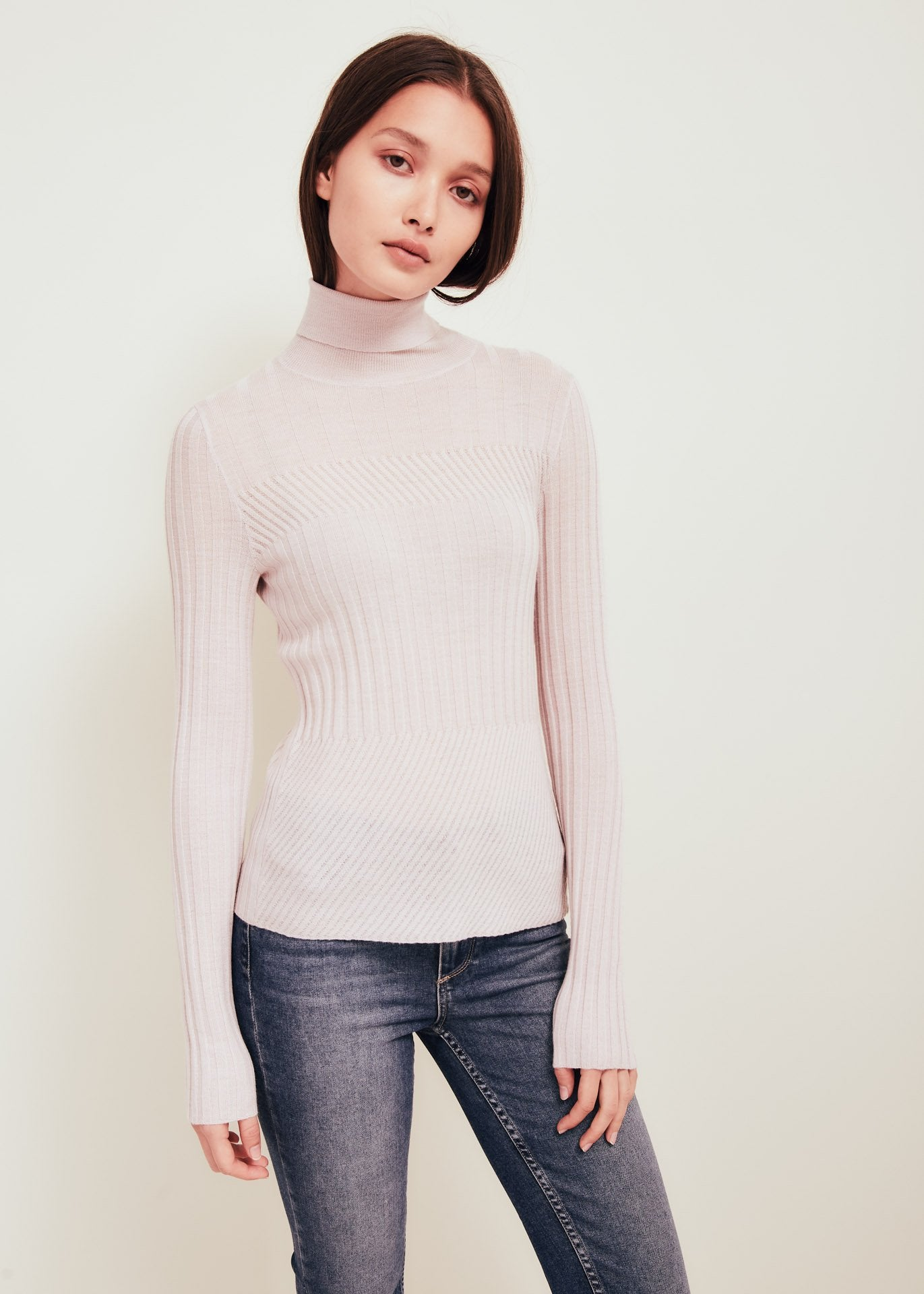 Pink Fine Merino Wool Turtleneck Sweater - Tori