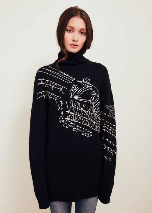 Delilah Wool Turtleneck Sweater Black