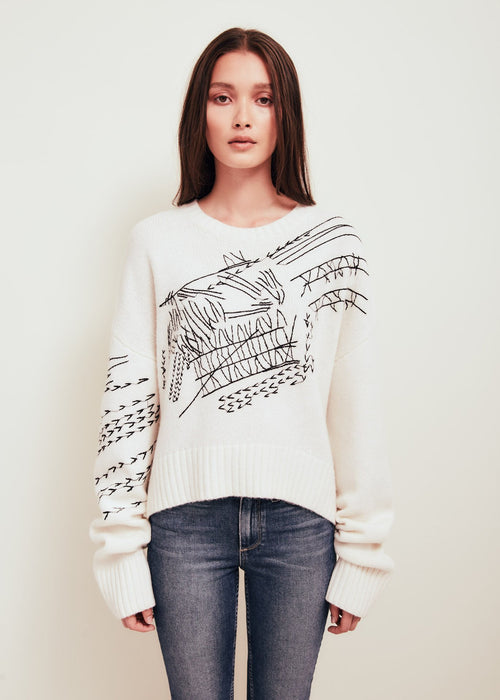 White Wool Blend Crew Neck Sweater - Pan