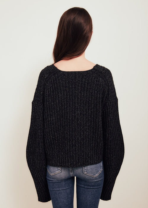 Elise V Neck Wool Sweater Black