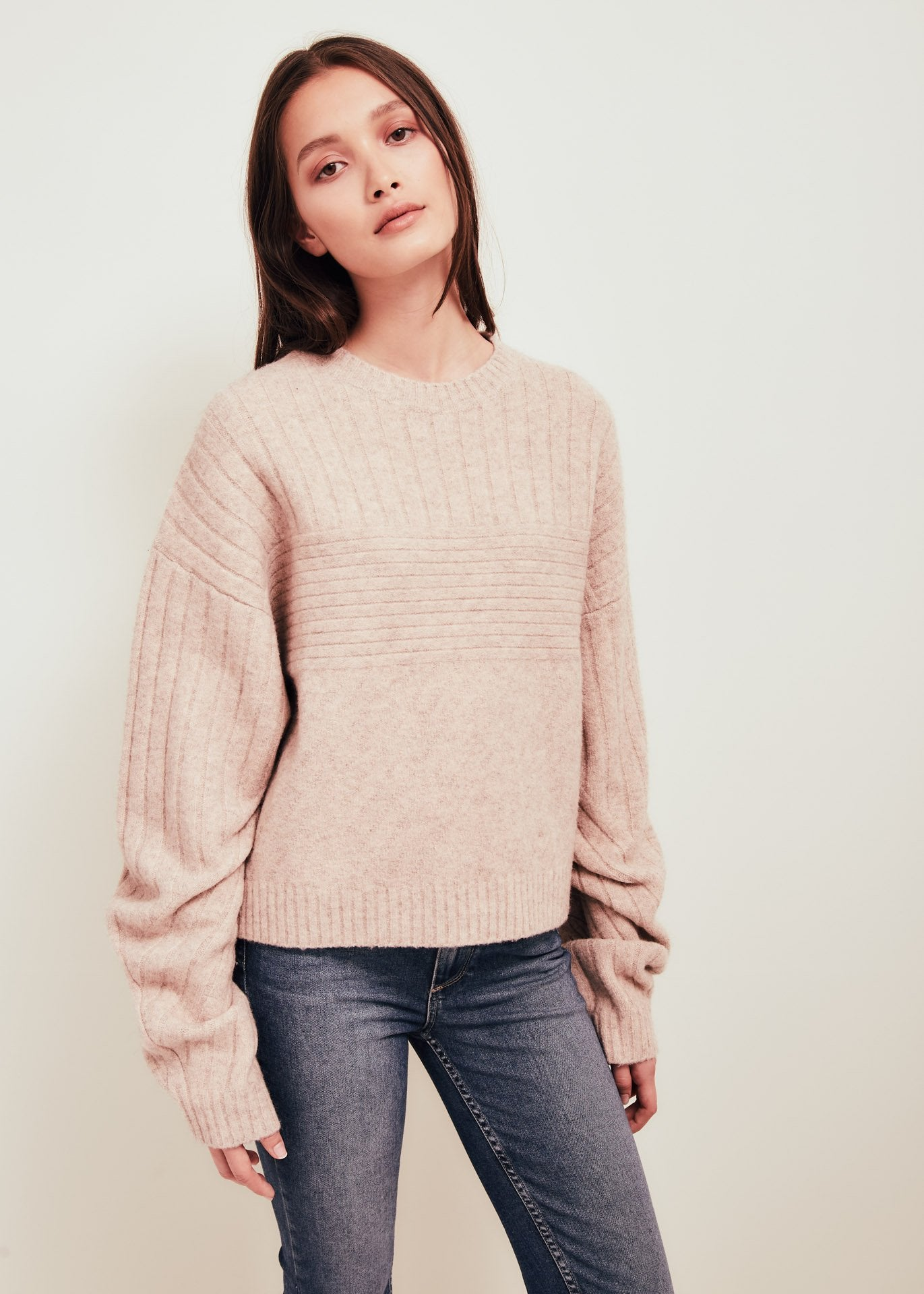 Pink Wool Blend Crew Neck Sweater - Talia