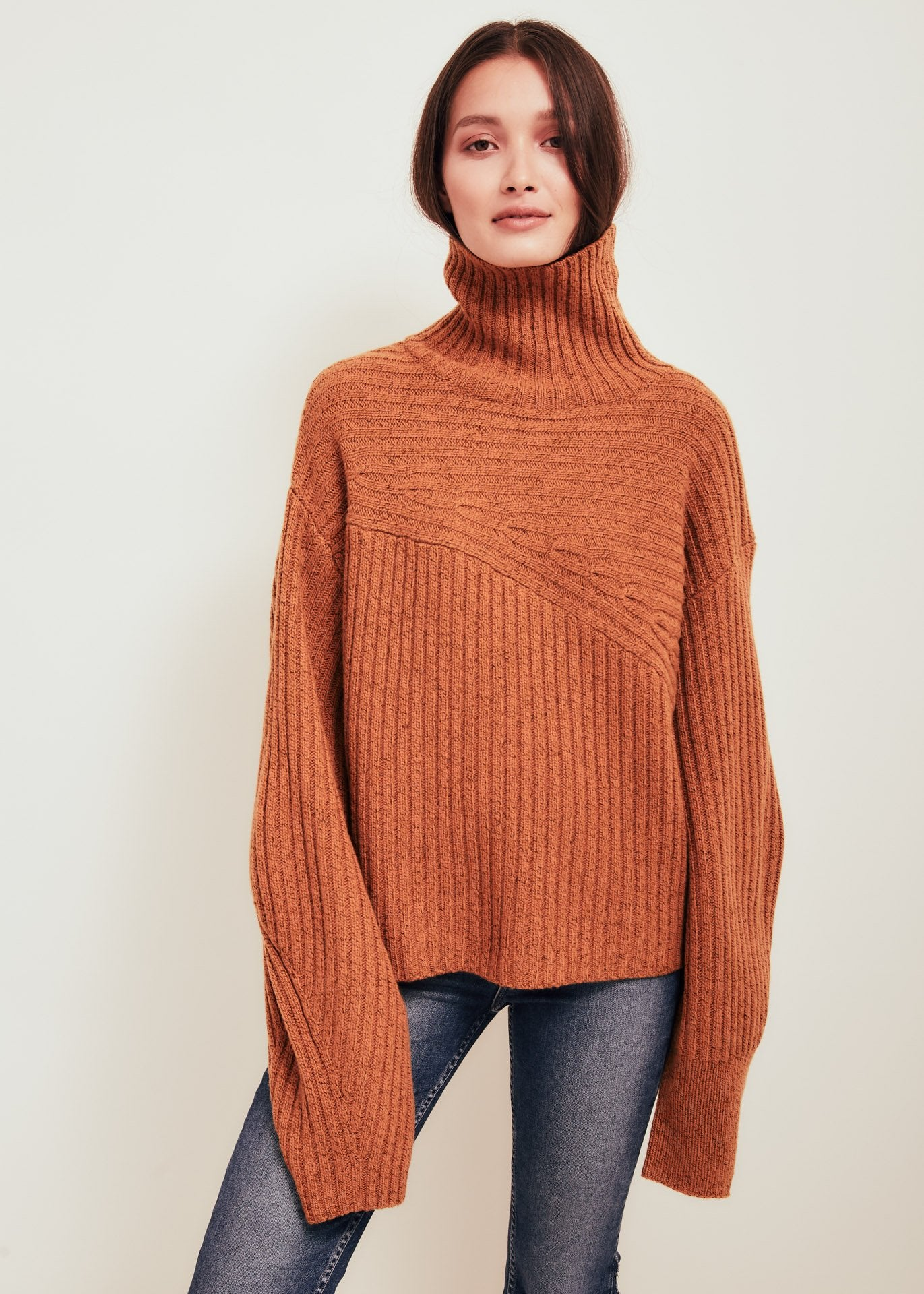 Orange Wool Blend Turtleneck Sweater - Matin