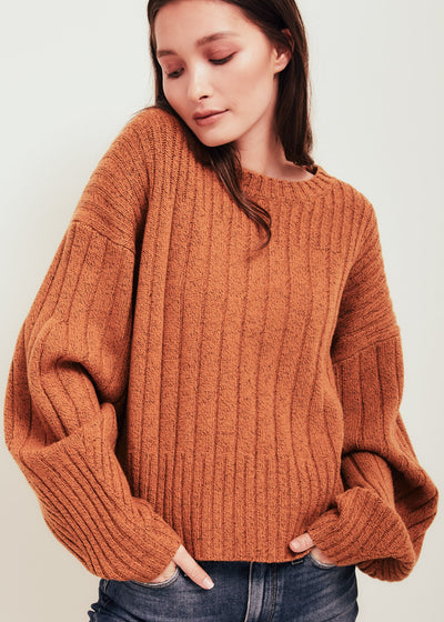 Orange Wool Crew Neck Sweater - Mira