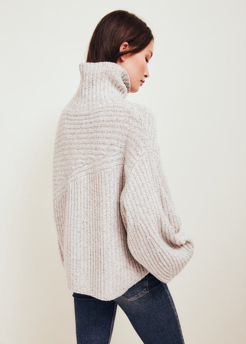 White Wool Blend Turtleneck Sweater - Matin