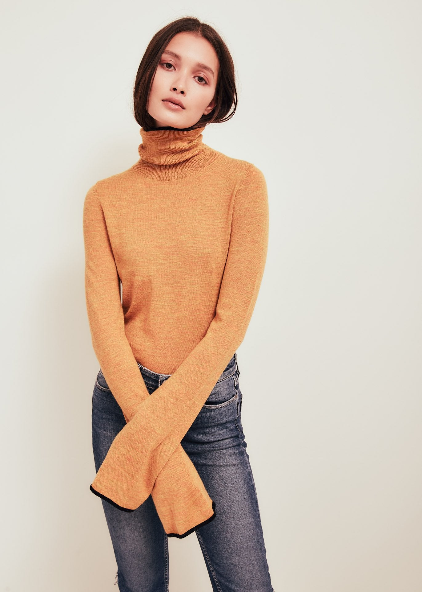 Orange Fine Merino Wool Turtleneck Sweater - Paloma