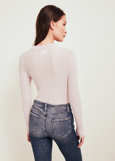 Pink Fine Merino Wool Crew Neck Sweater - Nev