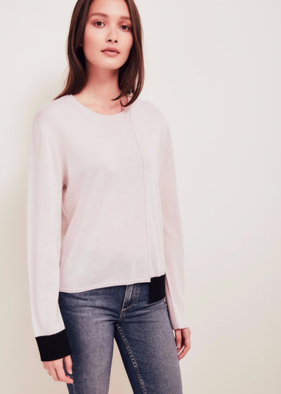Pink Fine Merino Wool Sweater With Black Trim - Ackely