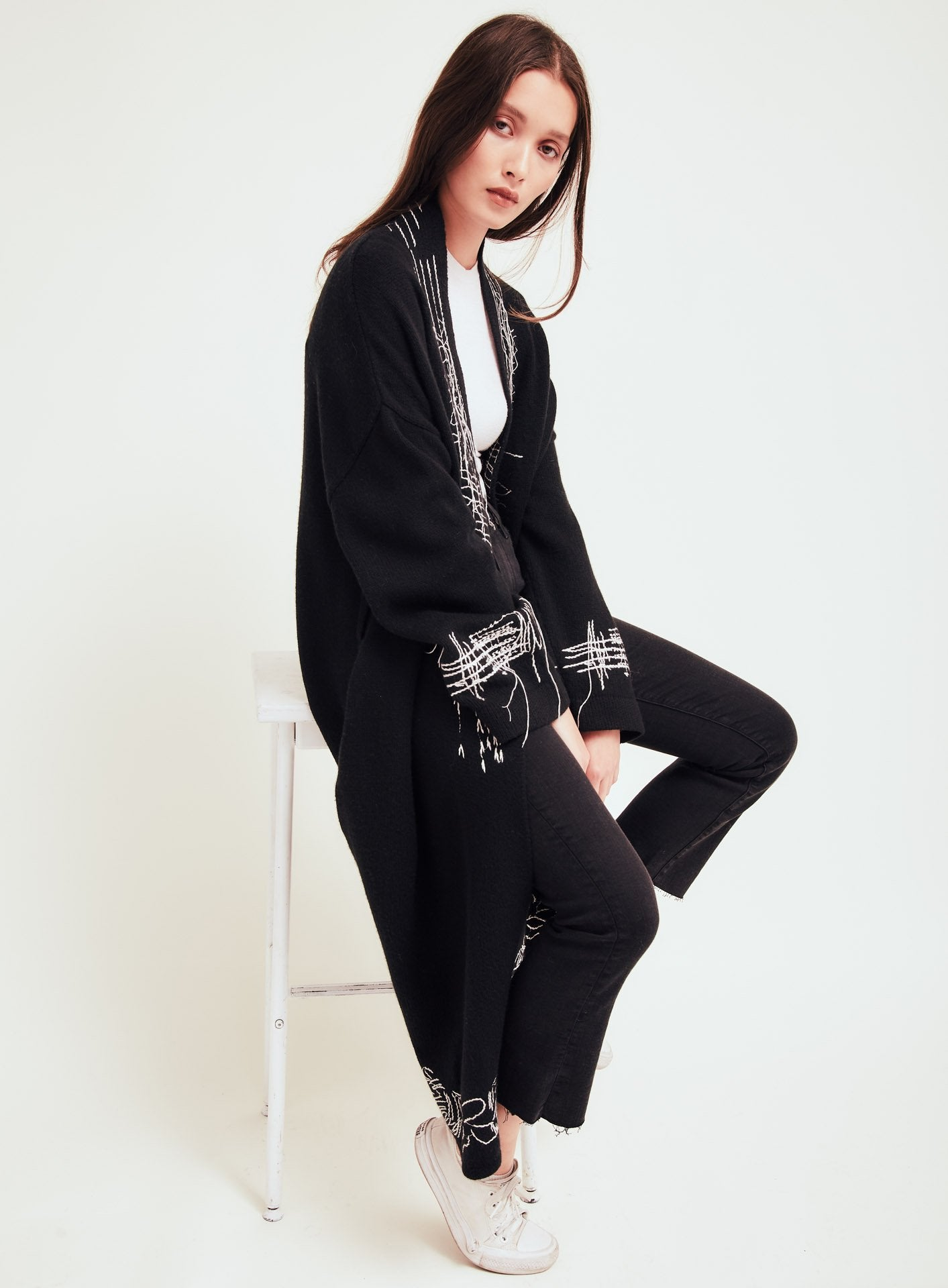Nolita Black Wool Long Cardigan