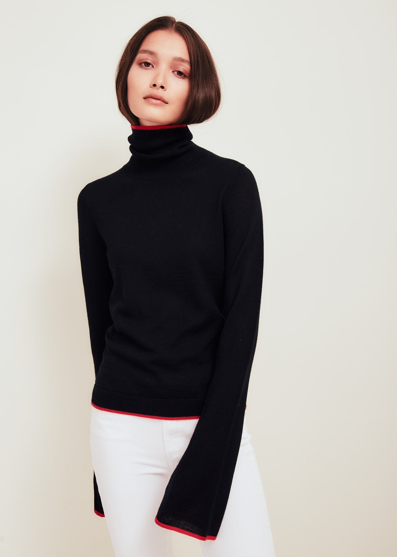 Black Fine Merino Wool Sweater With Red Tipping - Paloma