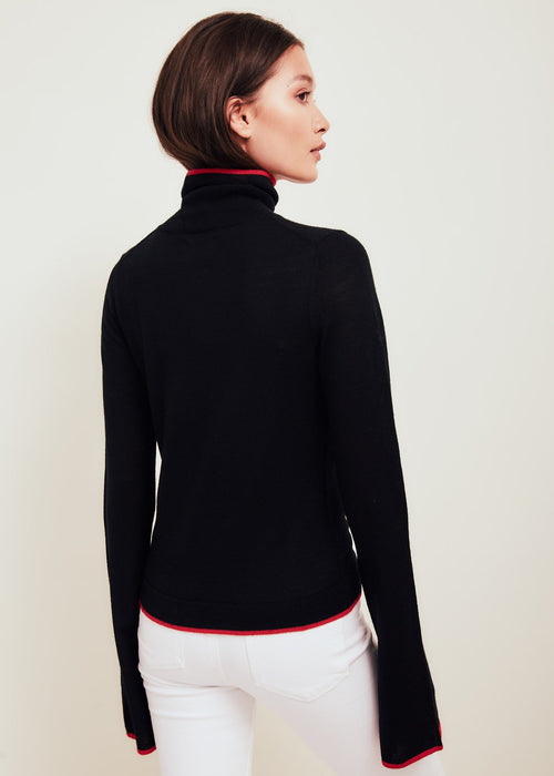 Paloma Fine Merino Wool Sweater Black With Red Tipping