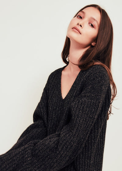Black Wool V Neck Sweater - Elise