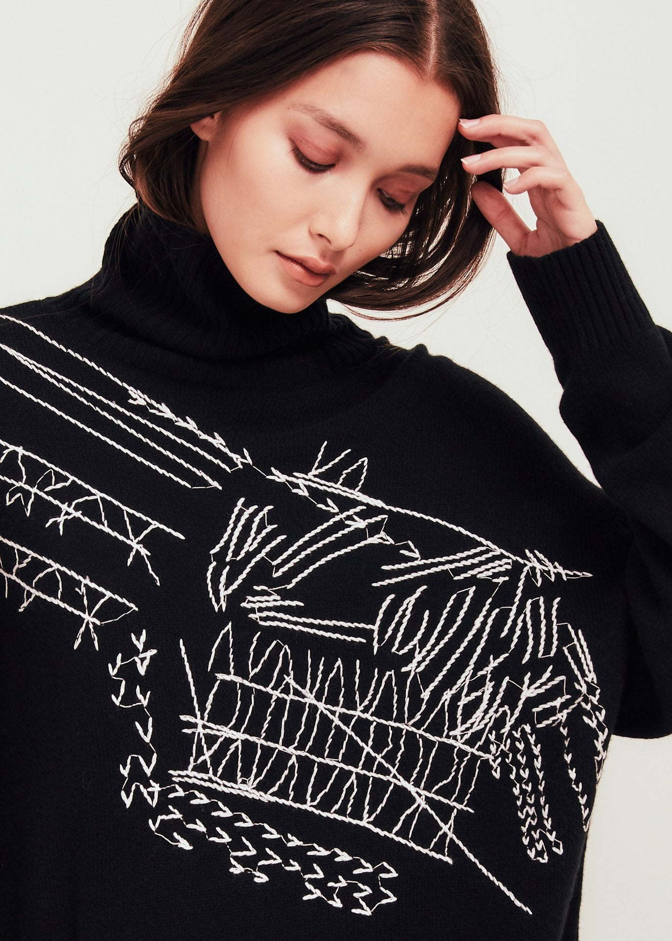 Black Wool Turtleneck Sweater With Embroidery - Delilah