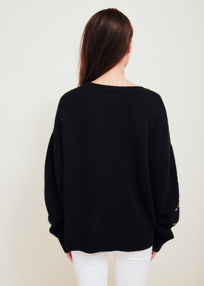 Black Wool Blend Crew Neck Sweater - Pan