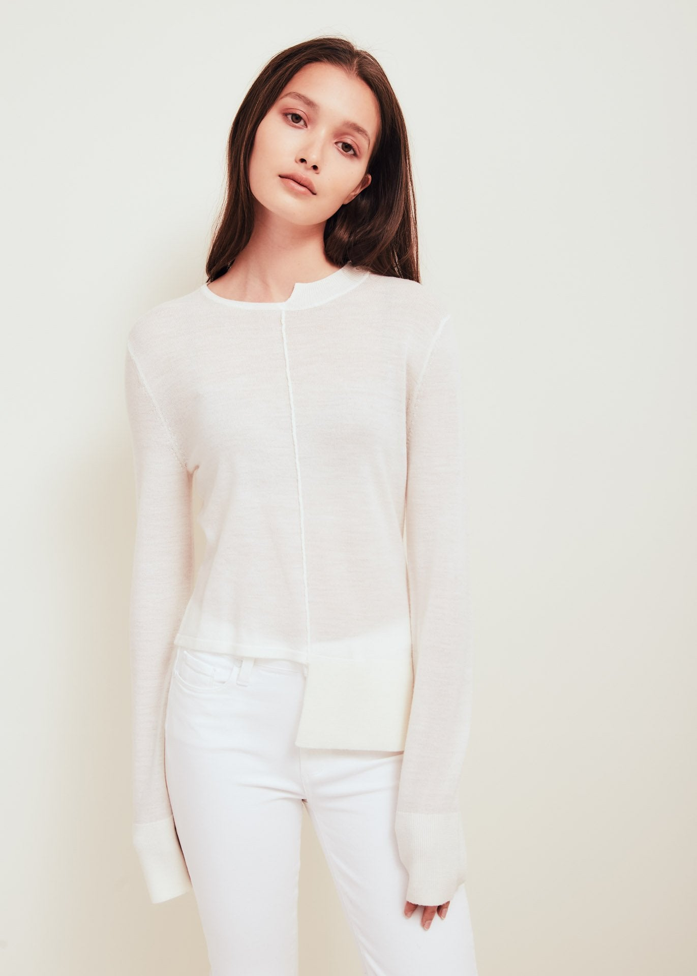 White Fine Merino Wool Crew Neck Sweater - Stephie