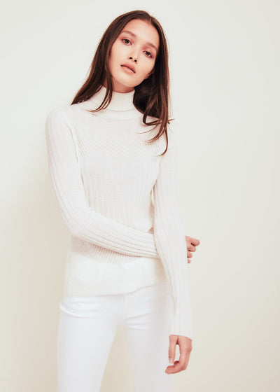 White Fine Merino Wool Turtleneck Sweater - Tori
