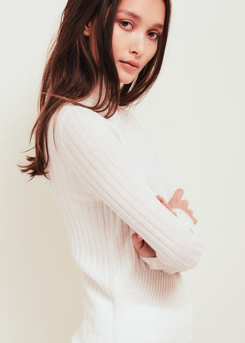 Tori White Fine Merino Wool Sweater