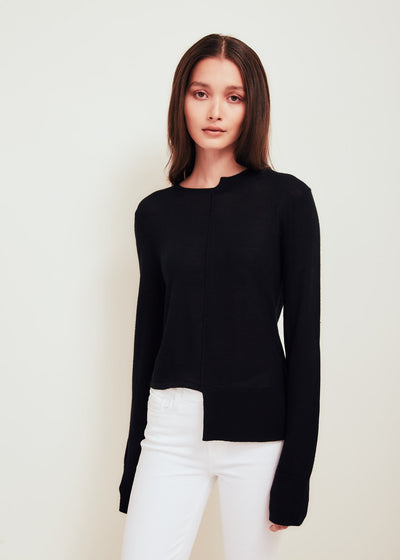 Black Fine Merino Wool Crew Neck Sweater - Stephie