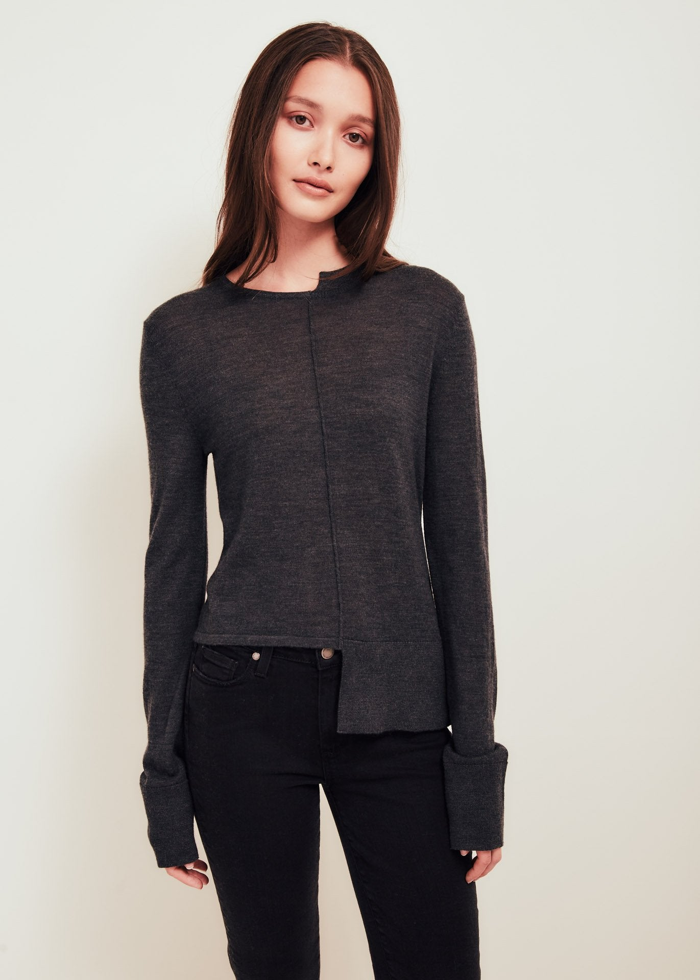 Grey Fine Merino Wool Crew Neck Sweater - Stephie