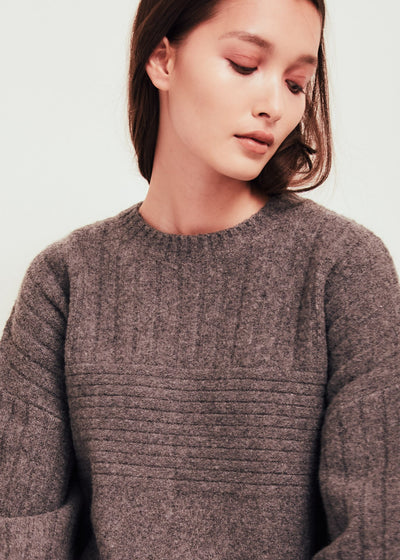 Grey Wool Blend Crew Neck Sweater - Talia