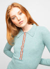 Blue Viscose Wool Blend Polo Neck Sweater - Sienna