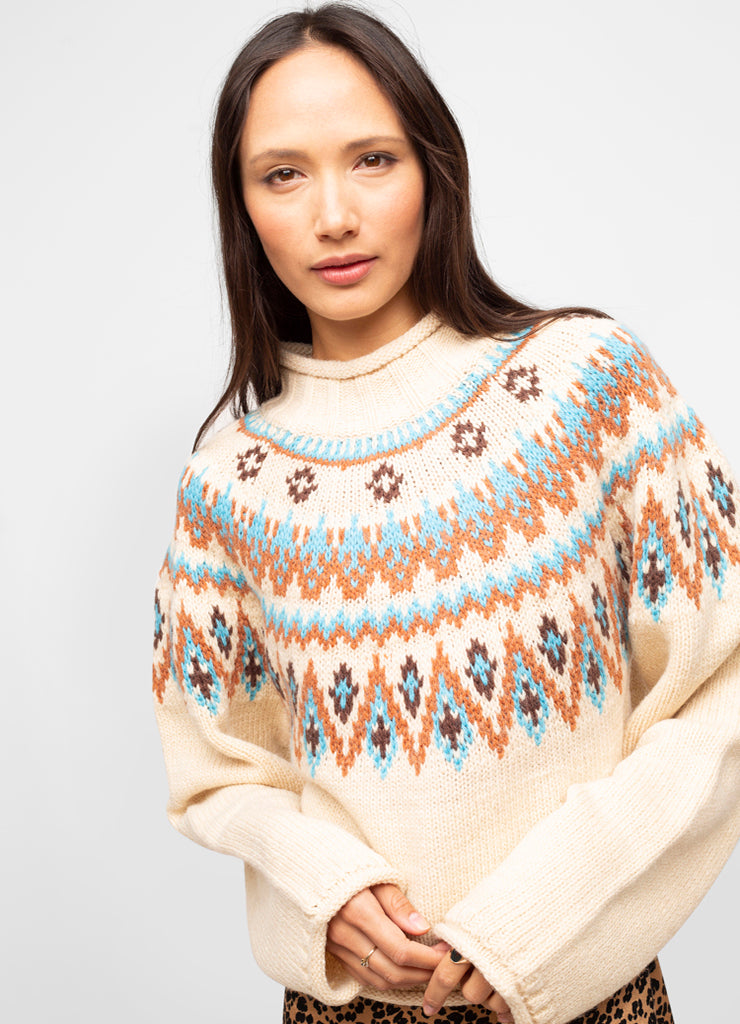 White Wool Blend Mock Neck Fair Isle Sweater - Zoey