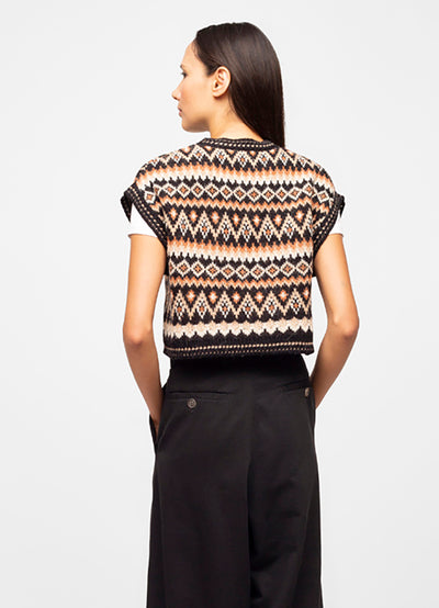 Black Wool Blend Fair Isle Sleeveless Crew Neck Sweater - Sadie