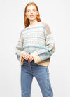 Blue Wool Blend Crew Neck Fair Isle Sweater - Miranda