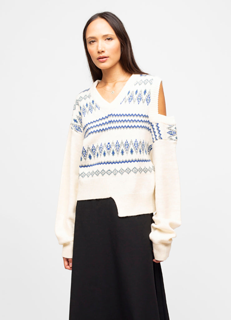 White Wool Blend V Neck Fair Isle Sweater - Quinn